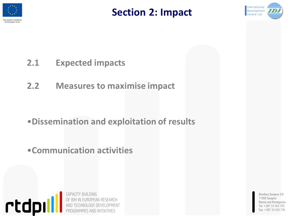Section 2: Impact 2.1Expected impacts 2.2Measures to maximise impact Dissemination and exploitation of results Communication activities