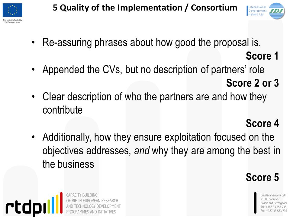 5 Quality of the Implementation / Consortium Re-assuring phrases about how good the proposal is. Score 1 Appended the CVs, but no description of partn