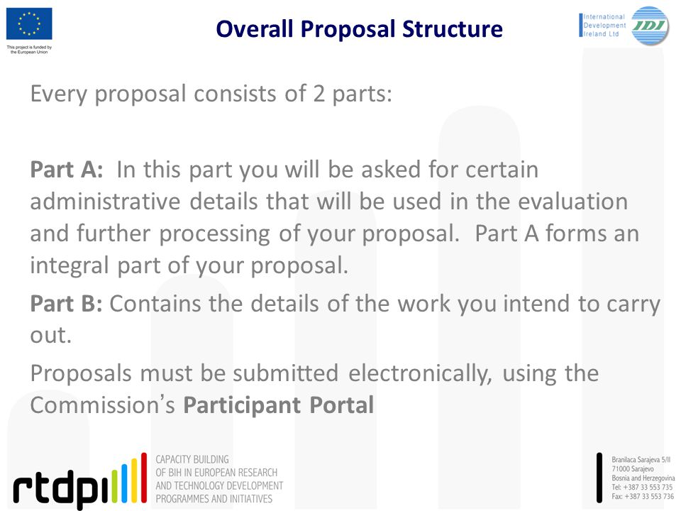 Overall Proposal Structure Every proposal consists of 2 parts: Part A: In this part you will be asked for certain administrative details that will be