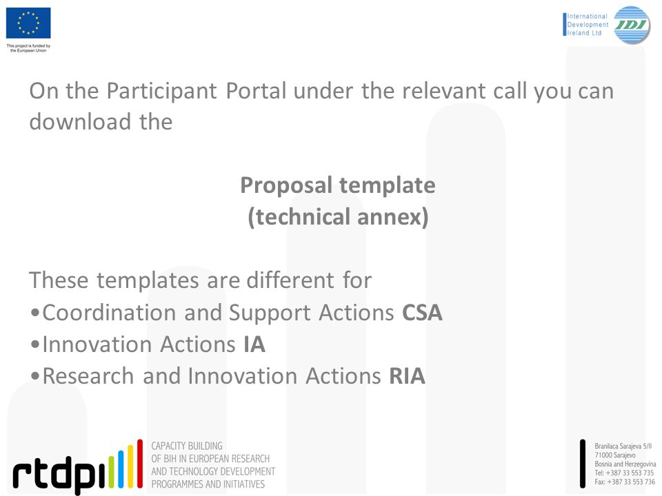 On the Participant Portal under the relevant call you can download the Proposal template (technical annex) These templates are different for Coordinat