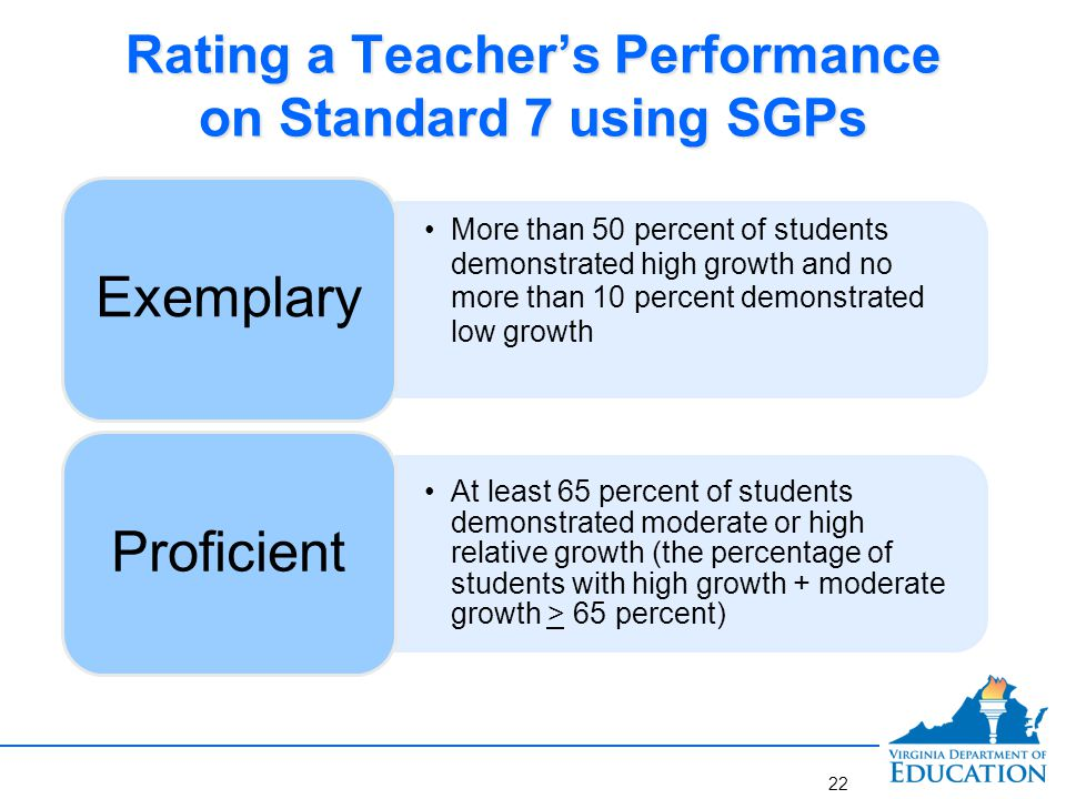 Rating a Teacher's Performance on Standard 7 using SGPs More than 50 percent of students demonstrated high growth and no more than 10 percent demonstr