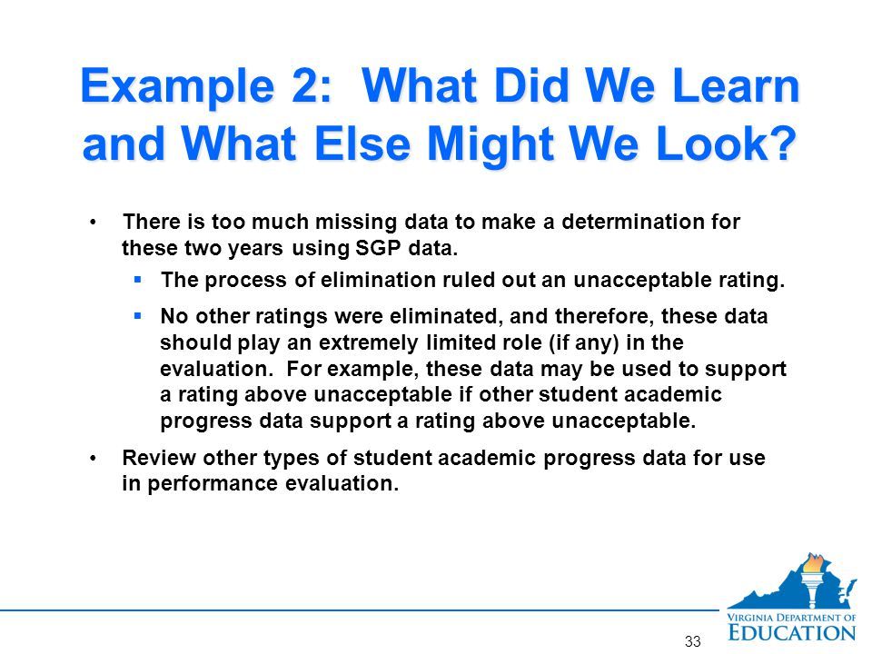 Example 2: What Did We Learn and What Else Might We Look? There is too much missing data to make a determination for these two years using SGP data. 