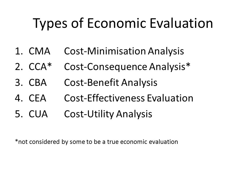 Types of Economic Evaluation 1.CMACost-Minimisation Analysis 2.CCA*Cost-Consequence Analysis* 3.CBACost-Benefit Analysis 4.CEACost-Effectiveness Evaluation 5.CUACost-Utility Analysis *not considered by some to be a true economic evaluation