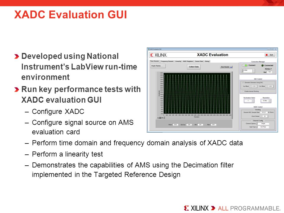 XADC Evaluation GUI Developed using National Instrument's LabView run-time environment Run key performance tests with XADC evaluation GUI –Configure XADC –Configure signal source on AMS evaluation card –Perform time domain and frequency domain analysis of XADC data –Perform a linearity test –Demonstrates the capabilities of AMS using the Decimation filter implemented in the Targeted Reference Design