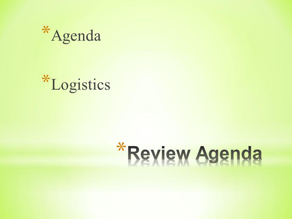 * Agenda * Logistics