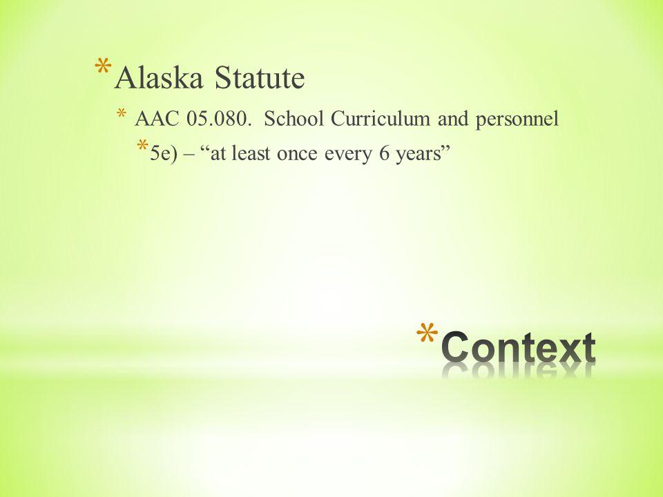 * Alaska Statute * AAC 05.080.