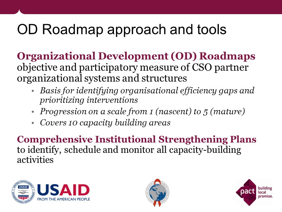 Key areas of analysis 1.Assess the quality and usefulness of capacity development efforts since 2006 2.Examine the effectiveness of the OD roadmap capacity building approach 3.Review selected capacity building factors associated with sustainability (retention) of systems.
