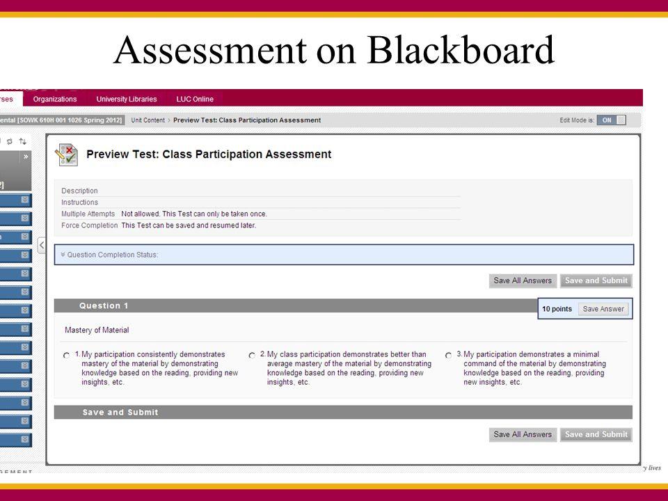 Assessment on Blackboard