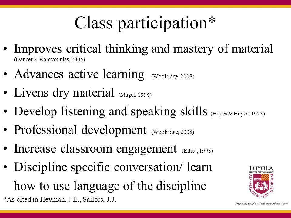 Class participation* Improves critical thinking and mastery of material (Dancer & Kamvounias, 2005) Advances active learning (Woolridge, 2008) Livens