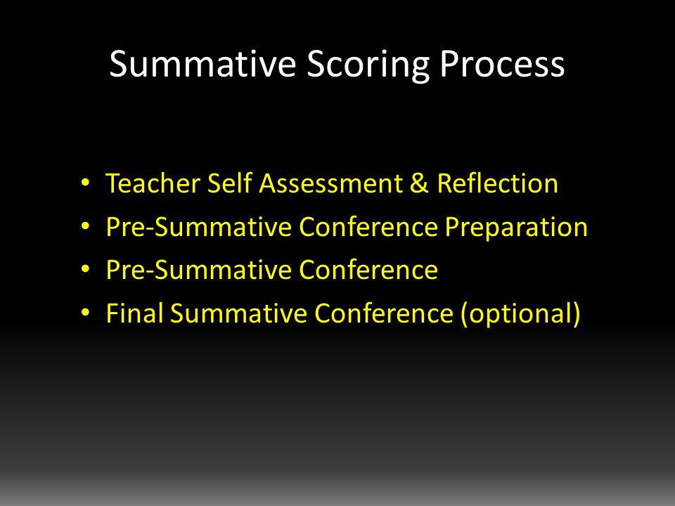 Summative Scoring Process Teacher Self Assessment & Reflection Pre-Summative Conference Preparation Pre-Summative Conference Final Summative Conference (optional)