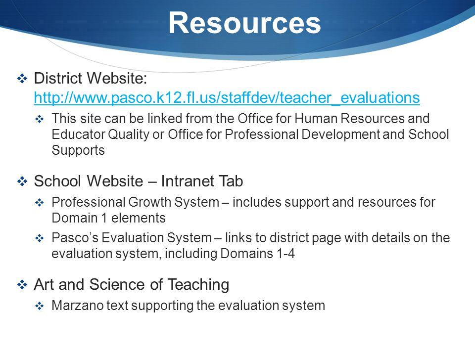 Resources  District Website: http://www.pasco.k12.fl.us/staffdev/teacher_evaluations http://www.pasco.k12.fl.us/staffdev/teacher_evaluations  This s