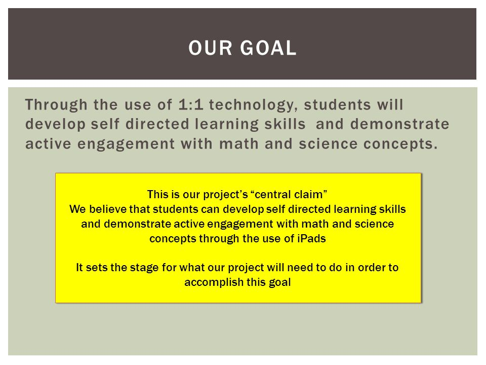 Through the use of 1:1 technology, students will develop self directed learning skills and demonstrate active engagement with math and science concepts.
