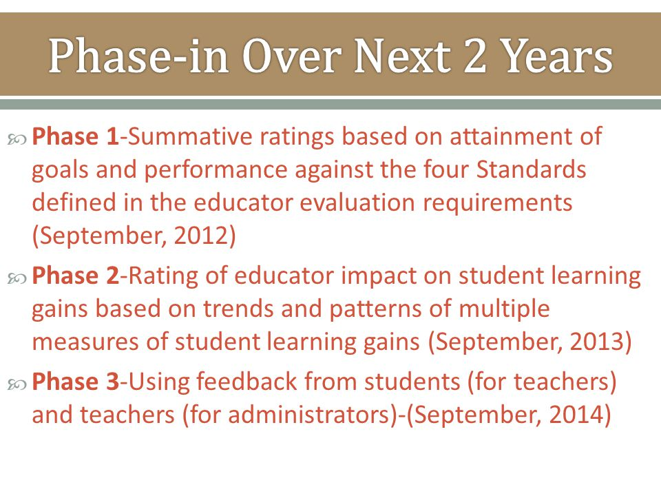  Phase 1-Summative ratings based on attainment of goals and performance against the four Standards defined in the educator evaluation requirements (S