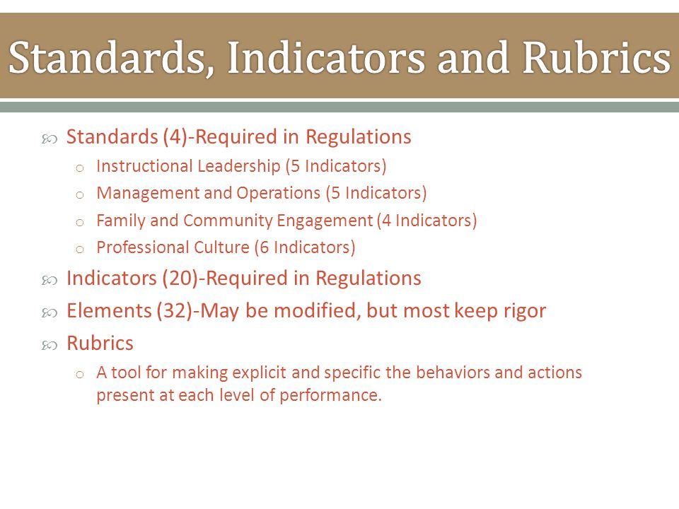  Standards (4)-Required in Regulations o Instructional Leadership (5 Indicators) o Management and Operations (5 Indicators) o Family and Community En