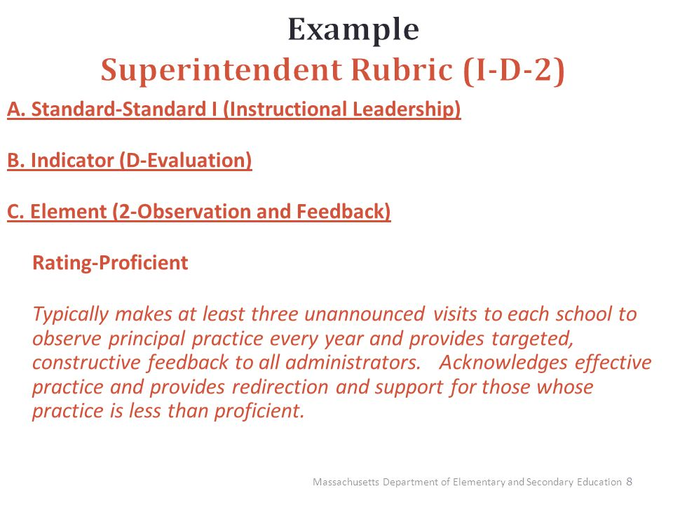 8 A. Standard-Standard I (Instructional Leadership) B. Indicator (D-Evaluation) C. Element (2-Observation and Feedback) Rating-Proficient Typically ma