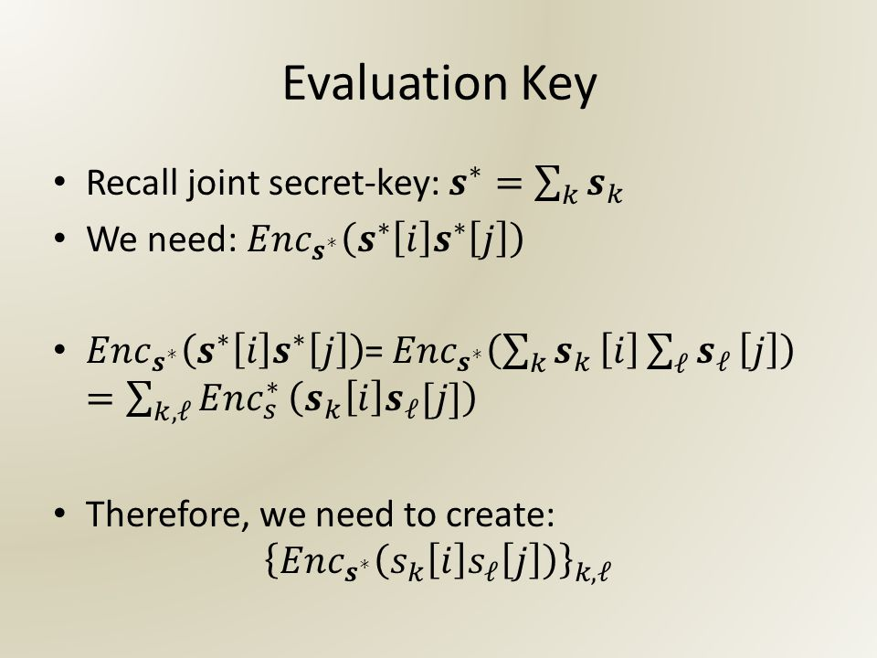 Evaluation Key