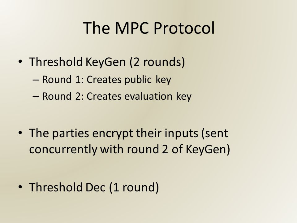 The MPC Protocol Threshold KeyGen (2 rounds) – Round 1: Creates public key – Round 2: Creates evaluation key The parties encrypt their inputs (sent concurrently with round 2 of KeyGen) Threshold Dec (1 round)