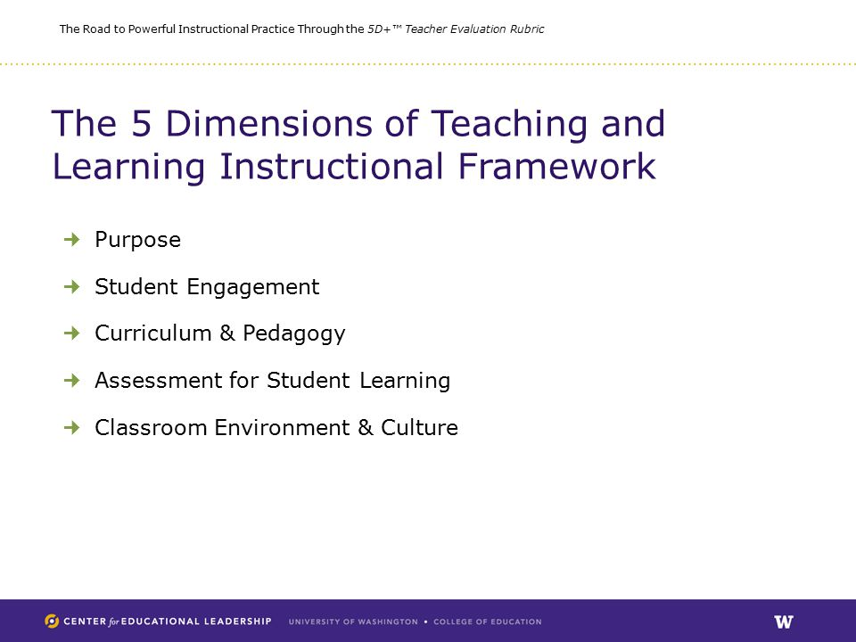 The Road to Powerful Instructional Practice Through the 5D+™ Teacher Evaluation Rubric The 5 Dimensions of Teaching and Learning Instructional Framework Purpose Student Engagement Curriculum & Pedagogy Assessment for Student Learning Classroom Environment & Culture