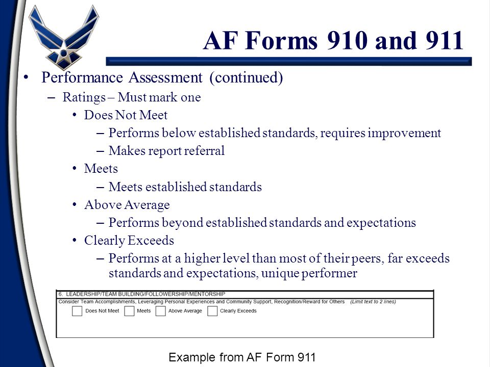 Performance Assessment (continued) – Ratings – Must mark one Does Not Meet – Performs below established standards, requires improvement – Makes report