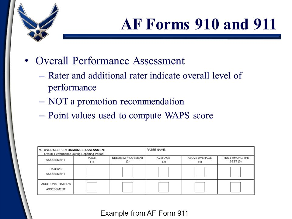 Overall Performance Assessment – Rater and additional rater indicate overall level of performance – NOT a promotion recommendation – Point values used