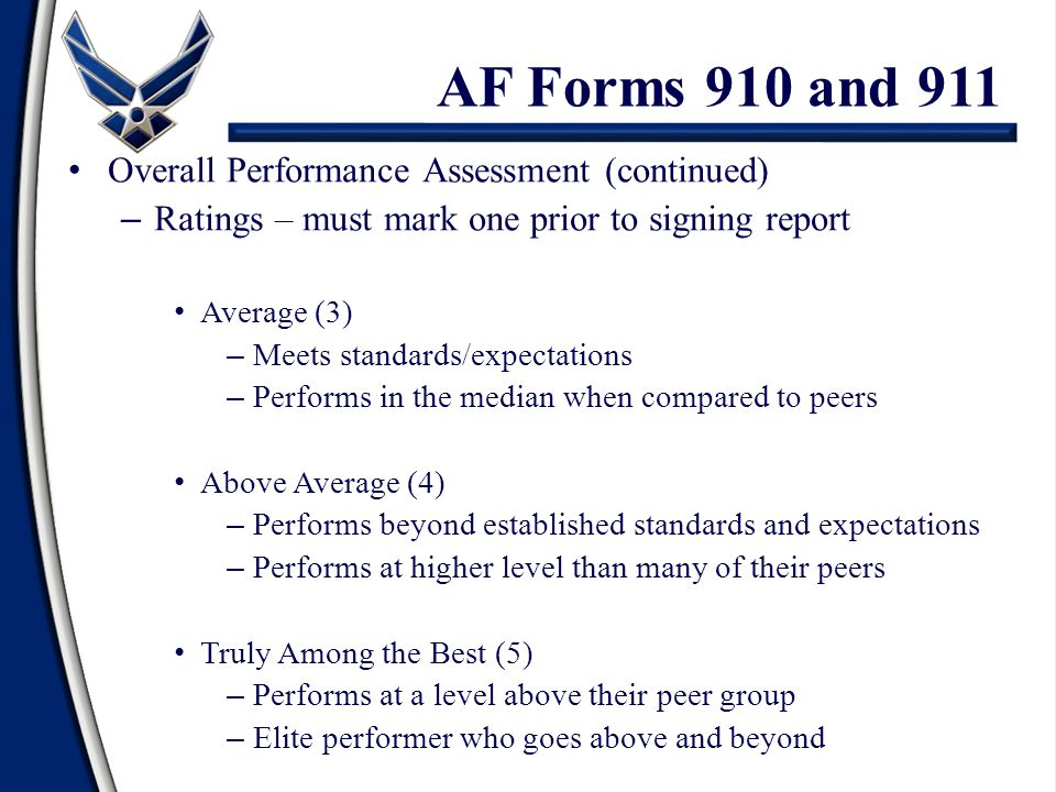 Overall Performance Assessment (continued) – Ratings – must mark one prior to signing report Average (3) – Meets standards/expectations – Performs in