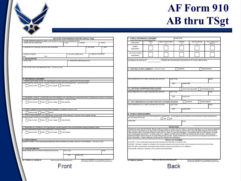 AF Form 910 AB thru TSgt FrontBack