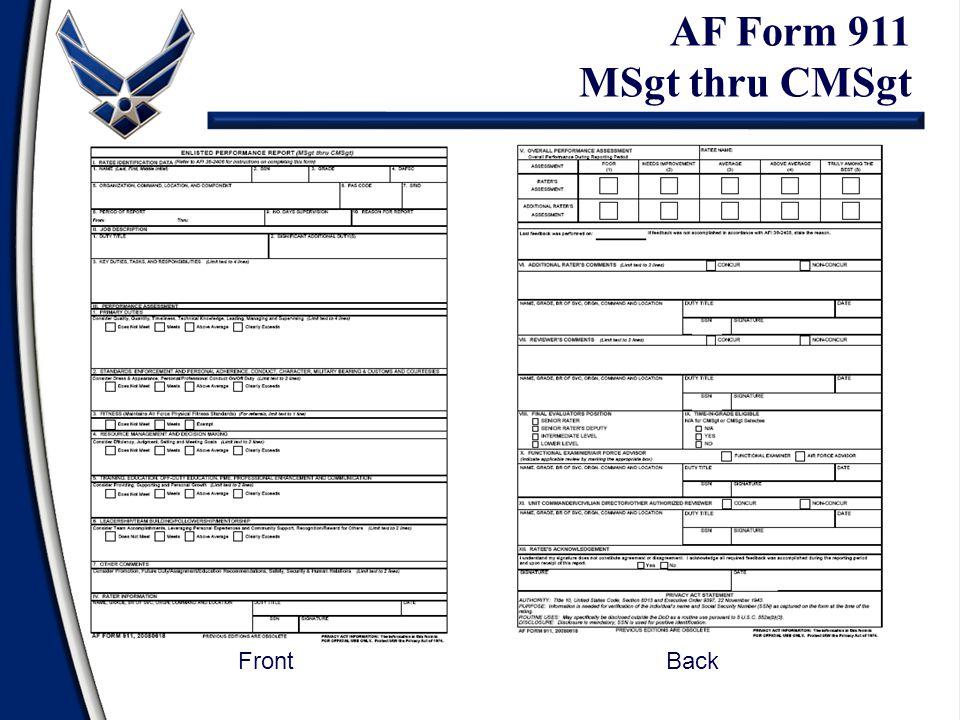 AF Form 911 MSgt thru CMSgt FrontBack