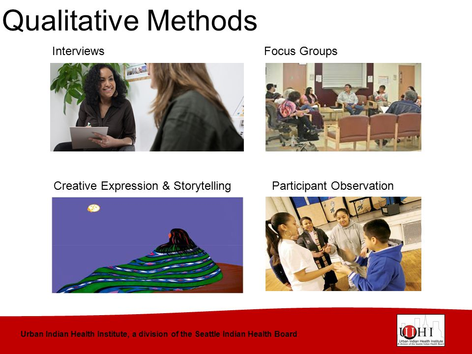 Urban Indian Health Institute, a division of the Seattle Indian Health Board Qualitative Methods InterviewsFocus Groups Creative Expression & Storytel