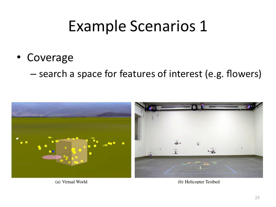 Example Scenarios 1 Coverage – search a space for features of interest (e.g. flowers) 23