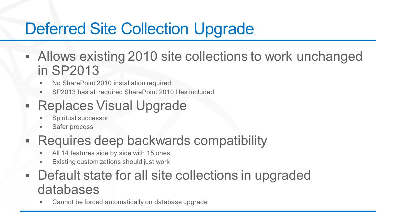 Deferred Site Collection Upgrade
