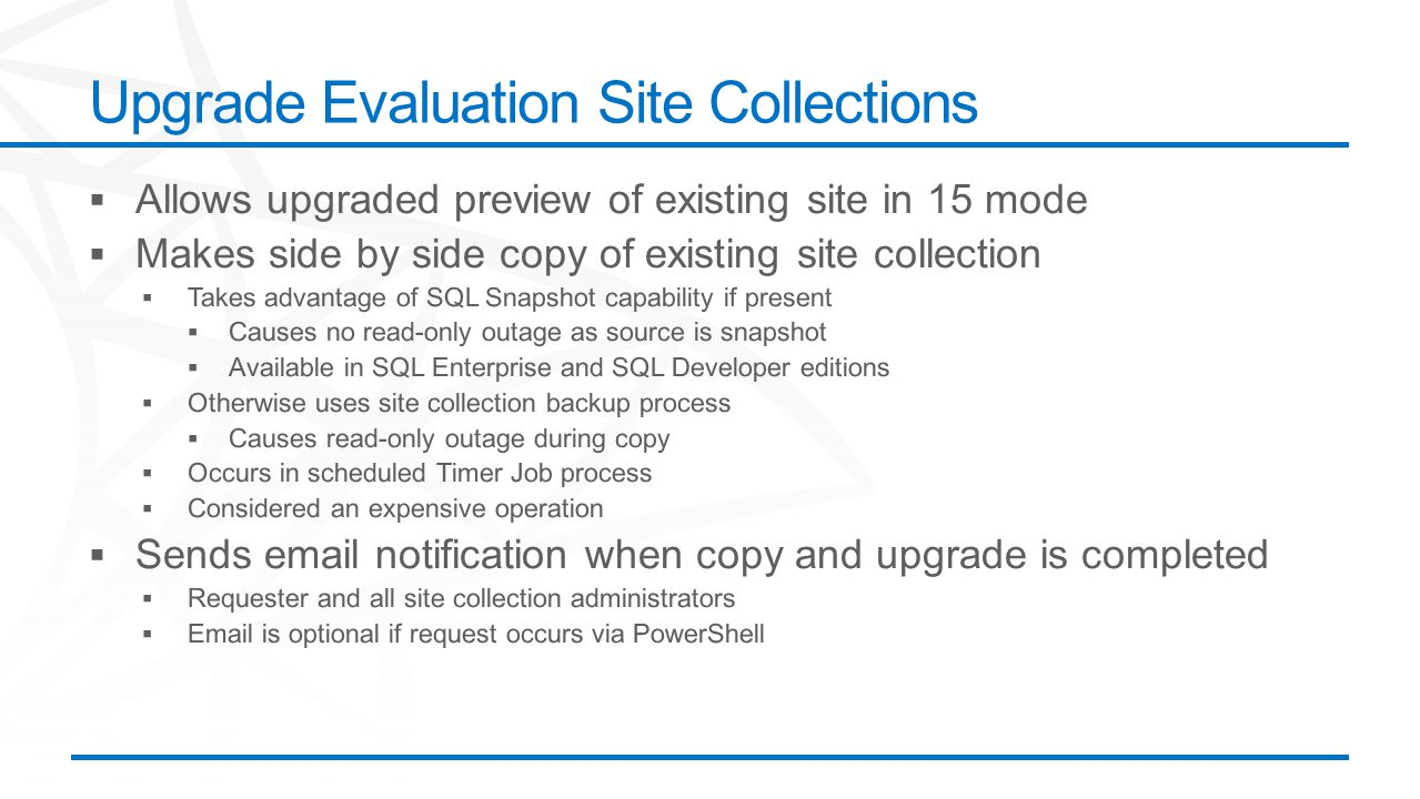 Upgrade Evaluation Site Collections