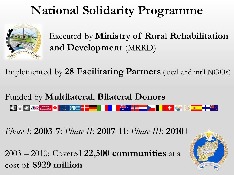 National Solidarity Programme Executed by Ministry of Rural Rehabilitation and Development (MRRD) Implemented by 28 Facilitating Partners (local and i