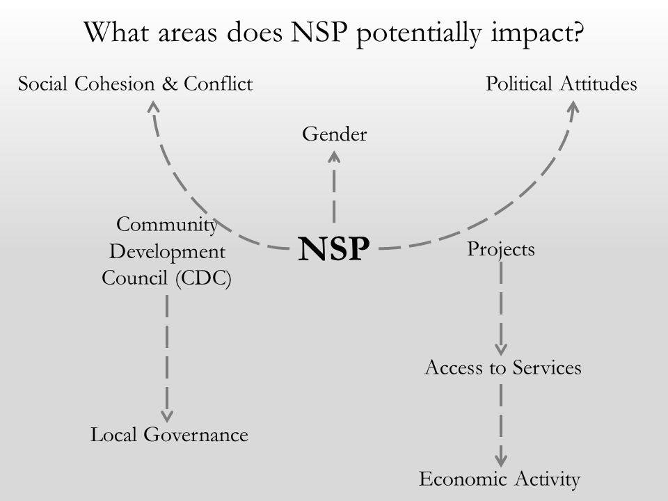 What areas does NSP potentially impact? Community Development Council (CDC) Projects Local Governance Access to Services Economic Activity NSP Social