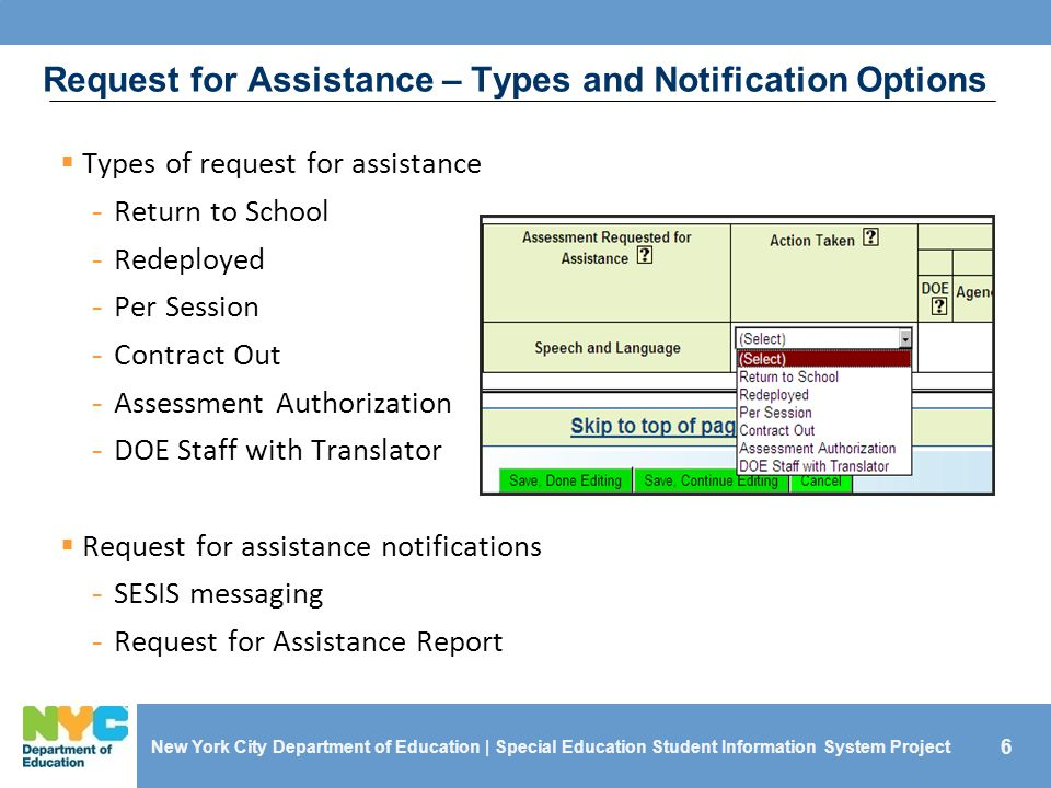 6 Request for Assistance – Types and Notification Options  Types of request for assistance - Return to School - Redeployed - Per Session - Contract Out - Assessment Authorization - DOE Staff with Translator  Request for assistance notifications - SESIS messaging - Request for Assistance Report New York City Department of Education | Special Education Student Information System Project