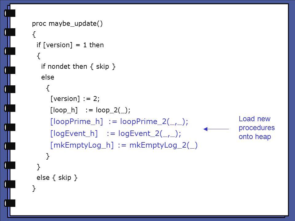 proc maybe_update() { if [version] = 1 then { if nondet then { skip } else { [version] := 2; [loop_h] := loop_2(_); [loopPrime_h] := loopPrime_2(_,_); [logEvent_h] := logEvent_2(_,_); [mkEmptyLog_h] := mkEmptyLog_2(_) } else { skip } } Load new procedures onto heap