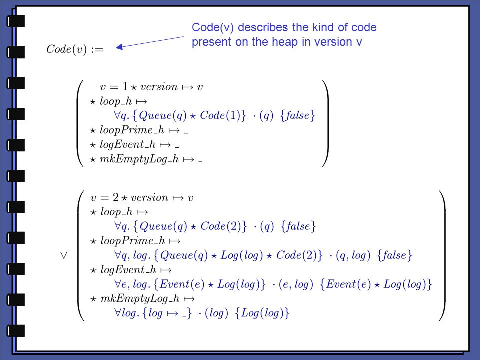 Code(v) describes the kind of code present on the heap in version v