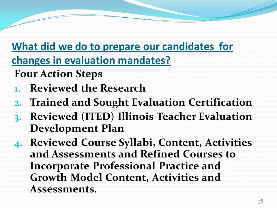 What did we do to prepare our candidates for changes in evaluation mandates.