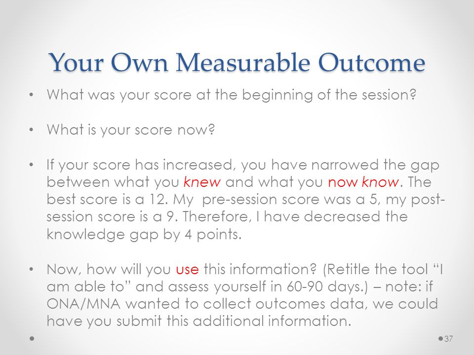 Your Own Measurable Outcome What was your score at the beginning of the session.