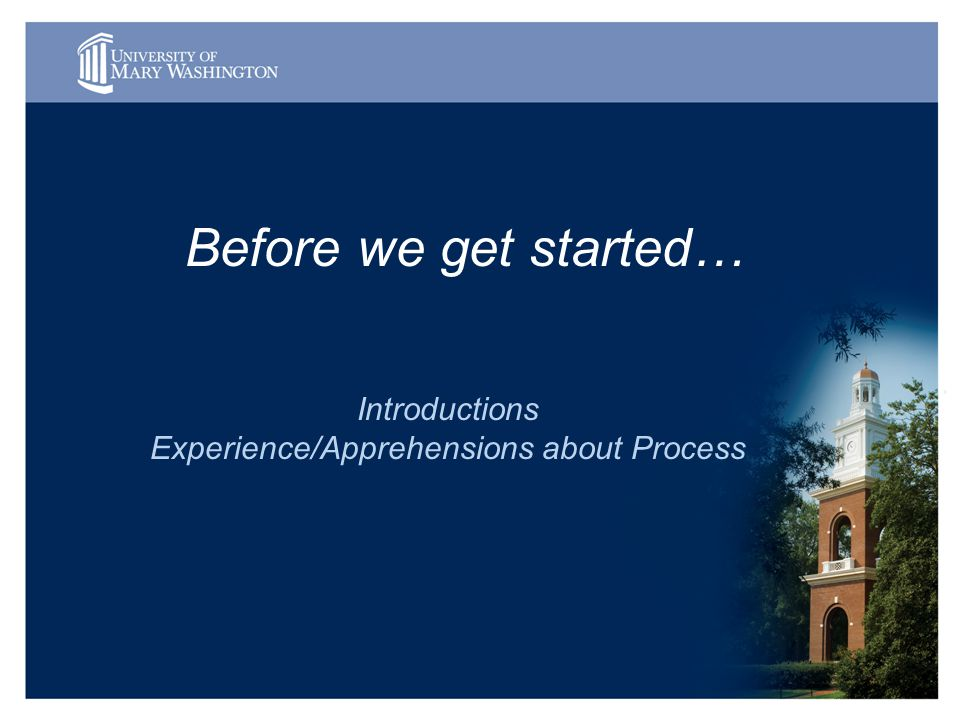 Before we get started… Introductions Experience/Apprehensions about Process