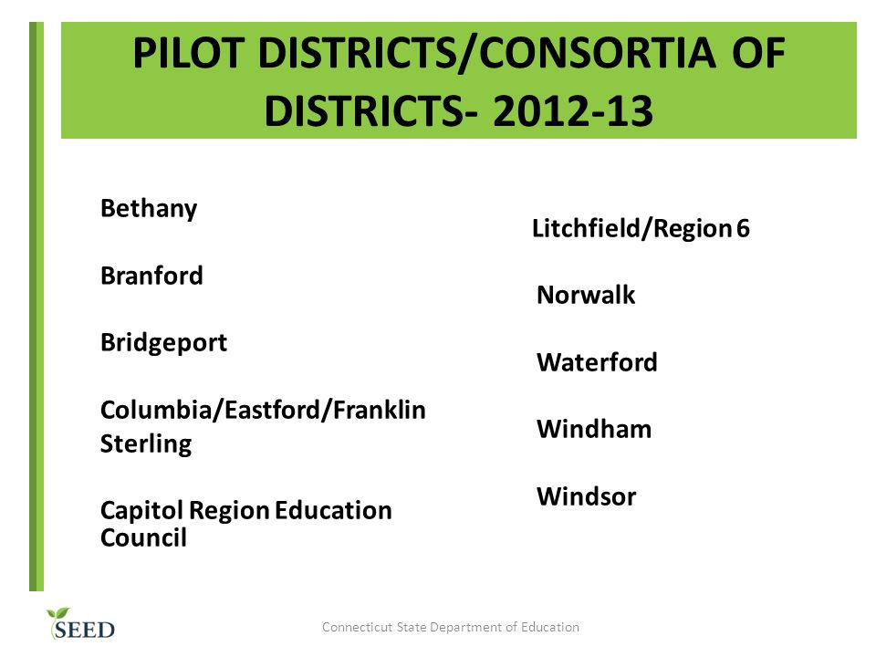 PILOT DISTRICTS/CONSORTIA OF DISTRICTS- 2012-13 Bethany Branford Bridgeport Columbia/Eastford/Franklin Sterling Capitol Region Education Council Litchfield/Region 6 Norwalk Waterford Windham Windsor Connecticut State Department of Education