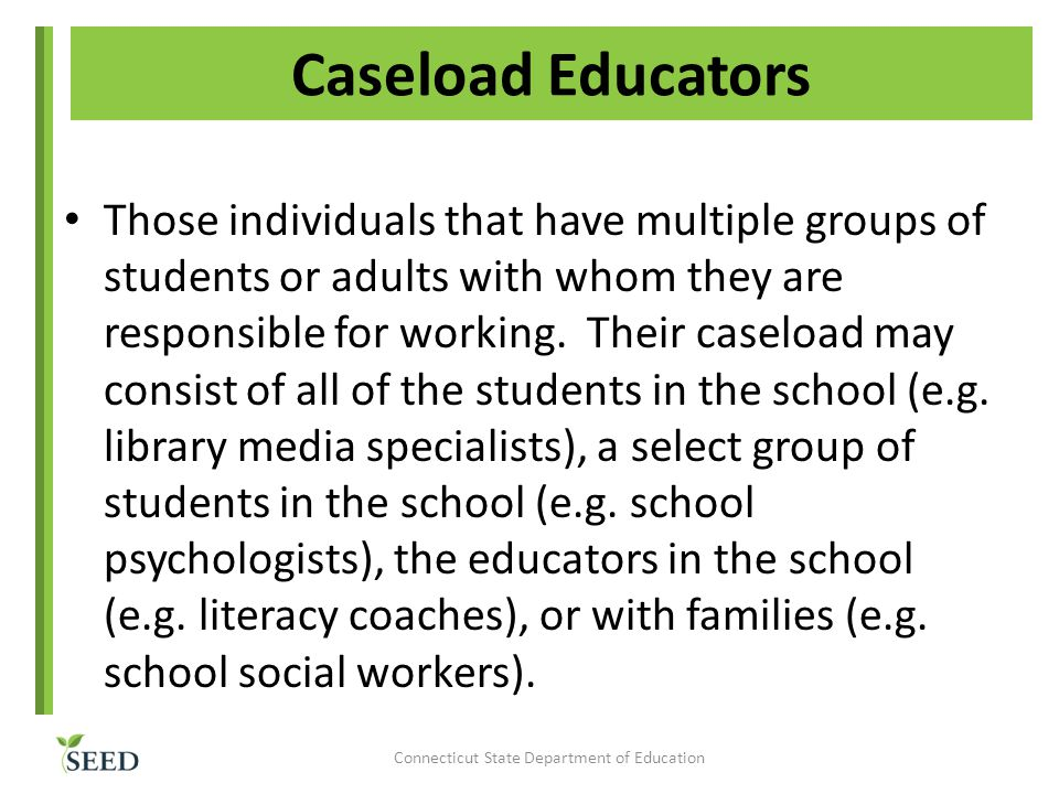Caseload Educators Those individuals that have multiple groups of students or adults with whom they are responsible for working.