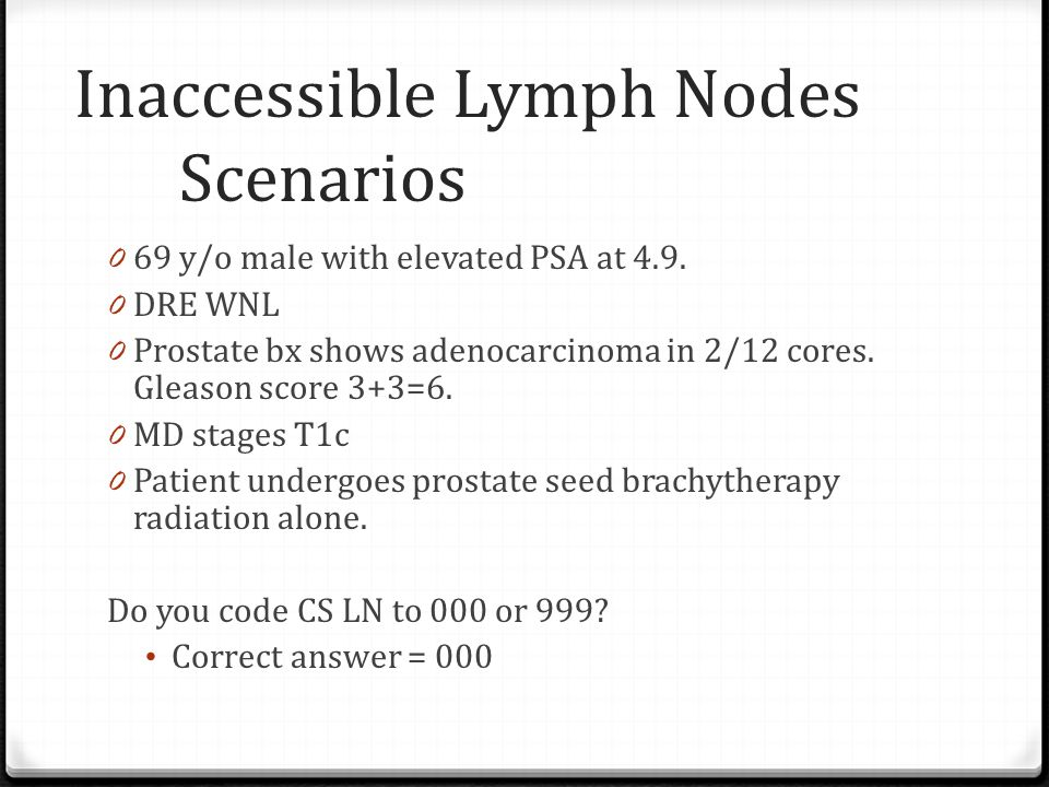 Inaccessible Lymph Nodes Scenarios 0 69 y/o male with elevated PSA at 4.9.