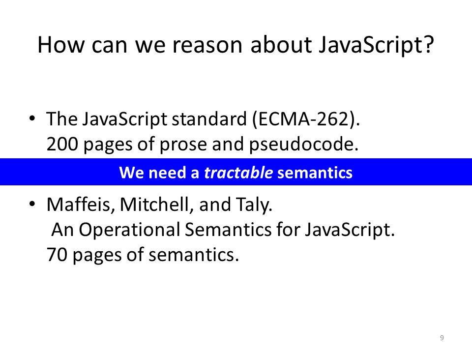 20 JavaScript programλ JS program desugar Chrome, Firefox, Rhino 100 LOC interpreter (Desugaring is Total) For all JavaScript programs e, is desugar(e) defined.