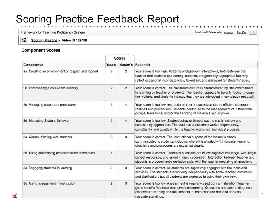 Scoring Practice Feedback Report 9