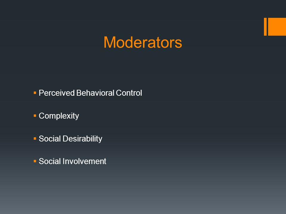 Moderators  Perceived Behavioral Control  Complexity  Social Desirability  Social Involvement