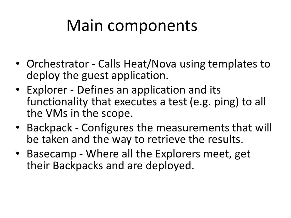 Orchestrator - Calls Heat/Nova using templates to deploy the guest application.