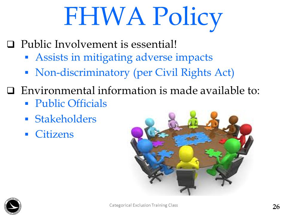 FHWA Policy  Public Involvement is essential.