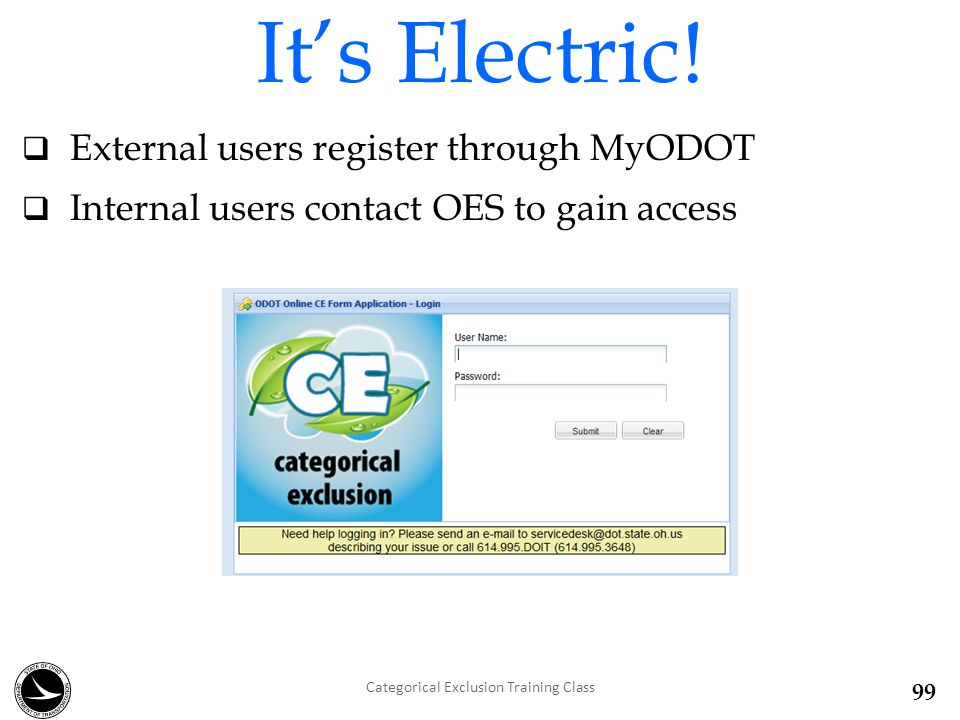  External users register through MyODOT  Internal users contact OES to gain access It's Electric.