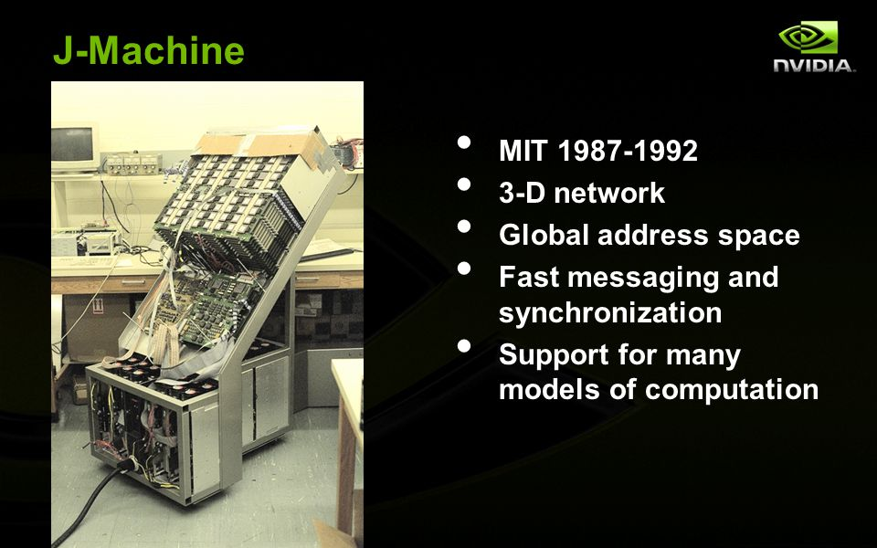 J-Machine MIT 1987-1992 3-D network Global address space Fast messaging and synchronization Support for many models of computation
