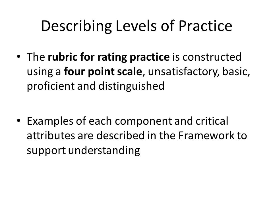 Describing Levels of Practice The rubric for rating practice is constructed using a four point scale, unsatisfactory, basic, proficient and distinguis